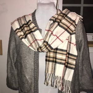 100 percent Cashmere white tan black plaid scarf
